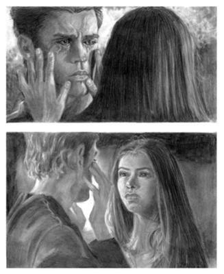 Stefan et elena dessin fande vampire diaries - Dessin vampire diaries ...