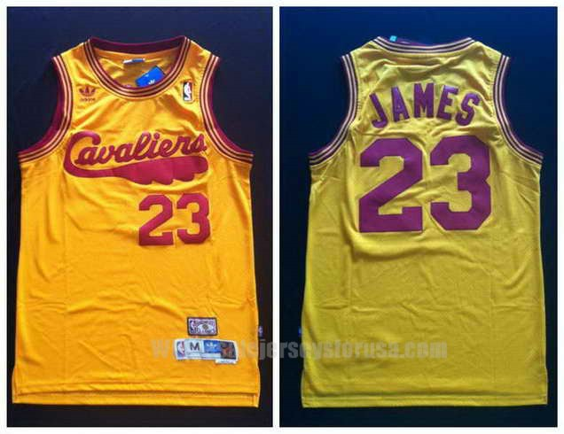 Cheap Adidas Cleveland Cavaliers 23 Lebron James Swingman Throwback Yellow NBA Jersey Wholesale