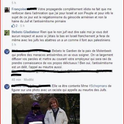 Antisémitisme à l'assaut sur Facebook : Bebeto Gladiateur, un gardien de la paix de Molenbeek-Saint-Jean appelle au meurtre des Juifs.