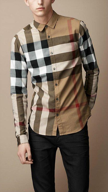 Burberry mens shirts long sleeve big checks coffee nike for Burberry t shirts for sale