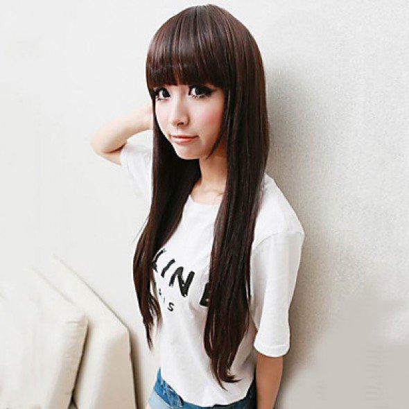 Japanese Hime Cut Cosplay Wig Dark Brown Straight 80cm