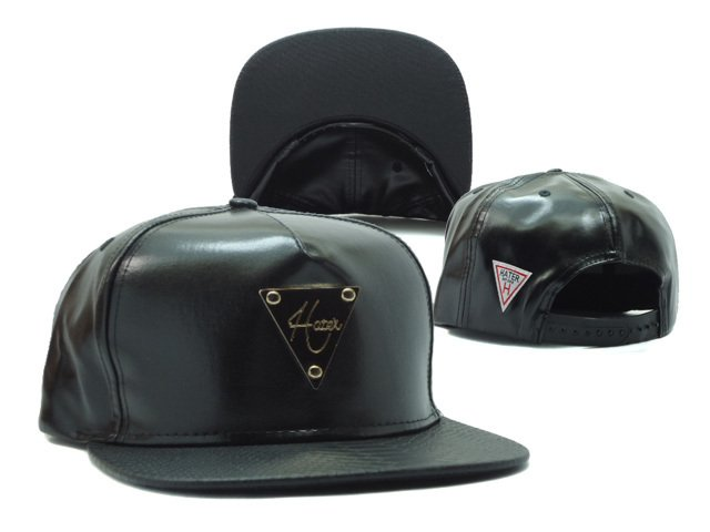 Hater Black Leather Snapback Hats