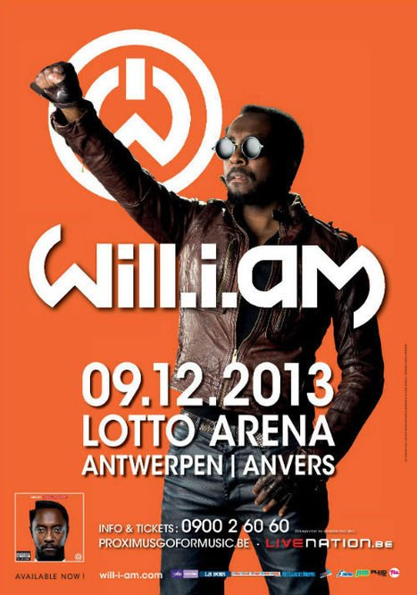 Free tickets • CHRONYX.be offre 10 DUO TICKETS pour le concert de WILL.I.AM le LUNDI 9 DECEMBRE � Anvers!