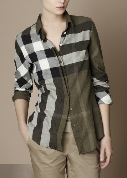burberry long sleeve shirt for womens dark khaki check