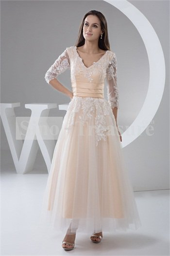 Champagne belt a line v neck 3 4 length sleeve ankle for Ankle length wedding dress with sleeves